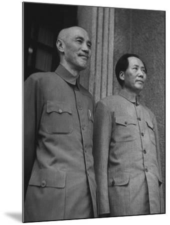 Chinese General Chiang Kai Shek Standing Side by Side W. Communist Ldr. Mao Tse Tung--Mounted Photographic Print