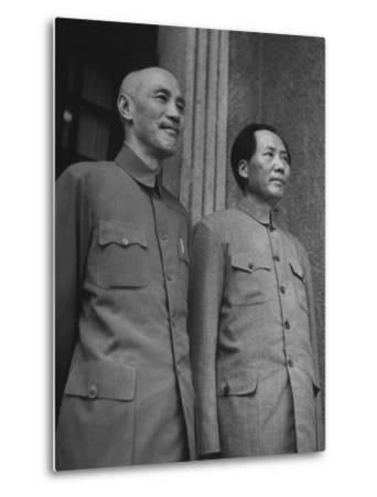 Chinese General Chiang Kai Shek Standing Side by Side W. Communist Ldr. Mao Tse Tung--Metal Print