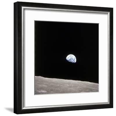 Apollo 8 View of Earth Rise over the Moon--Framed Photographic Print