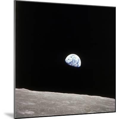 Apollo 8 View of Earth Rise over the Moon--Mounted Photographic Print