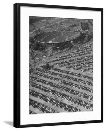 Aerial View of Rose Bowl Showing Thousands of Cars Parked around It-Loomis Dean-Framed Photographic Print