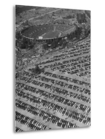 Aerial View of Rose Bowl Showing Thousands of Cars Parked around It-Loomis Dean-Metal Print