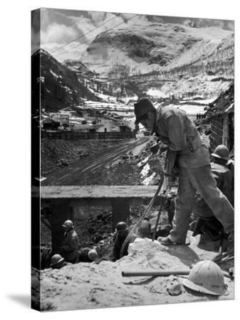 Worker Using a Jack Hammer to Help Build the Dam for the Eca-Sponsored Hydro-Electric Projects-Dmitri Kessel-Stretched Canvas Print