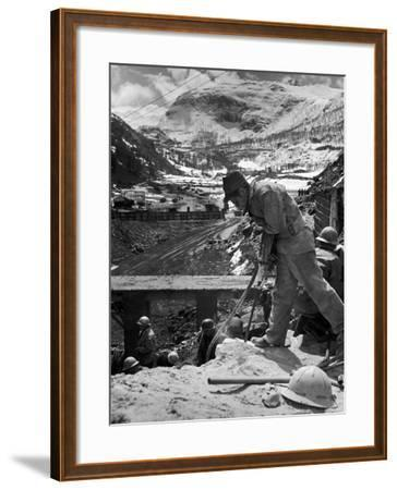 Worker Using a Jack Hammer to Help Build the Dam for the Eca-Sponsored Hydro-Electric Projects-Dmitri Kessel-Framed Photographic Print