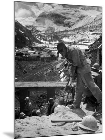 Worker Using a Jack Hammer to Help Build the Dam for the Eca-Sponsored Hydro-Electric Projects-Dmitri Kessel-Mounted Photographic Print