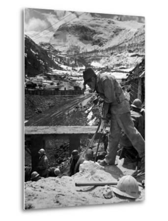 Worker Using a Jack Hammer to Help Build the Dam for the Eca-Sponsored Hydro-Electric Projects-Dmitri Kessel-Metal Print