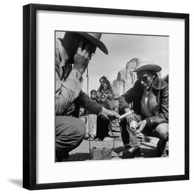 Harry Goulding Testing Ore for Uranium with a Gieger Counter-Loomis Dean-Framed Photographic Print