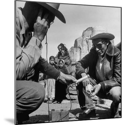 Harry Goulding Testing Ore for Uranium with a Gieger Counter-Loomis Dean-Mounted Photographic Print
