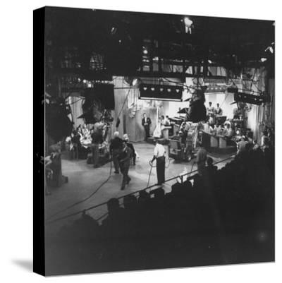 """Overall View of Production Scene from TV Series """"I Love Lucy,"""" Showing the Nightclub-Loomis Dean-Stretched Canvas Print"""