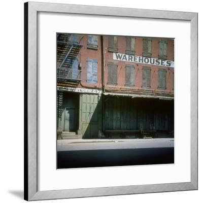 Shuttered Warehouse on the Lower East Side Lit by Late Day Sunlight--Framed Photographic Print