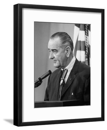 ff2ce4906eccf President Lyndon B. Johnson at Press Conference--Framed Photographic Print