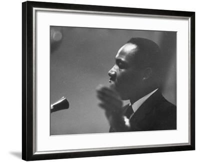 Civil Rights Leader Dr. Martin Luther King Jr. Making a Speech--Framed Premium Photographic Print