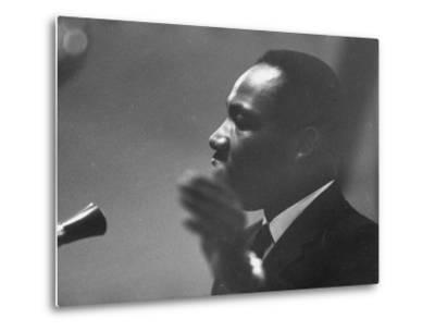 Civil Rights Leader Dr. Martin Luther King Jr. Making a Speech--Metal Print