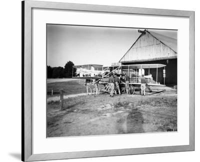 Aviation Pioneer Orville Wright Taking Off for 2nd Army Test in Wright Flyer--Framed Premium Photographic Print