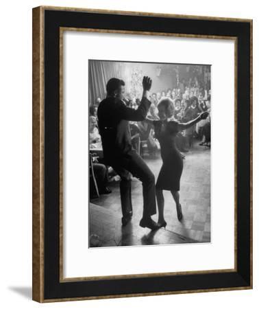 "Pop Singer Chubby Checker Singing His Hit Song ""The Twist"" on Dance Floor at Crescendo Nightclub-Ralph Crane-Framed Premium Photographic Print"