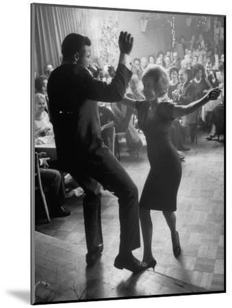 "Pop Singer Chubby Checker Singing His Hit Song ""The Twist"" on Dance Floor at Crescendo Nightclub-Ralph Crane-Mounted Premium Photographic Print"