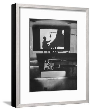 "Pianist Artur Rubinstein Playing Piano for ""Concerto""-Bob Landry-Framed Premium Photographic Print"