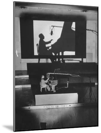 "Pianist Artur Rubinstein Playing Piano for ""Concerto""-Bob Landry-Mounted Premium Photographic Print"