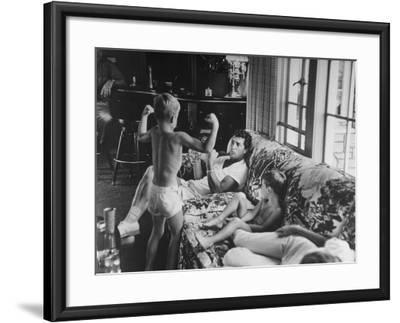 Entertainer Dean Martin Relaxing with His Sons at Home-Allan Grant-Framed Premium Photographic Print