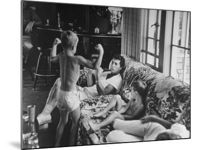 Entertainer Dean Martin Relaxing with His Sons at Home-Allan Grant-Mounted Premium Photographic Print