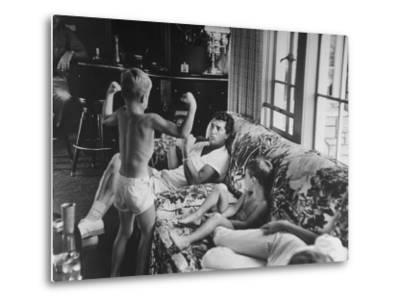 Entertainer Dean Martin Relaxing with His Sons at Home-Allan Grant-Metal Print