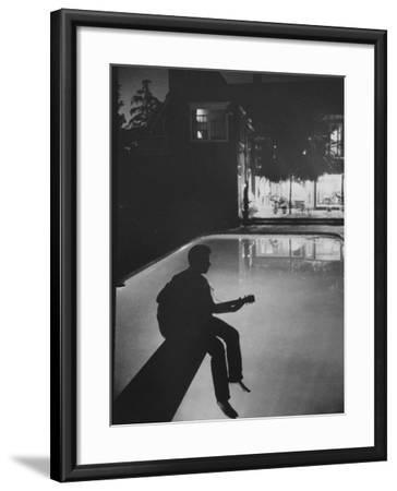 Singer Ricky Nelson Playing Guitar on Poolside-Ralph Crane-Framed Premium Photographic Print