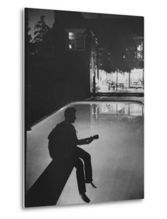 Singer Ricky Nelson Playing Guitar on Poolside-Ralph Crane-Metal Print