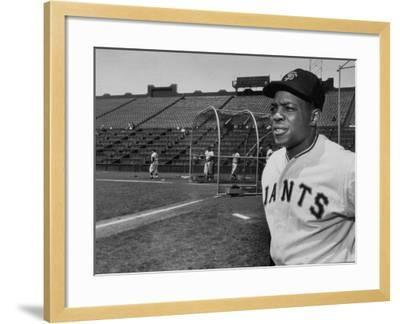 Baseball Star, Willie Mays on the Field--Framed Premium Photographic Print