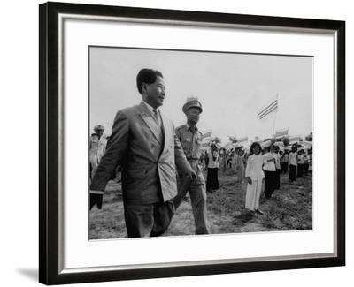 Ngo Dinh Diem, Visiting Refugee Settlements-John Dominis-Framed Premium Photographic Print