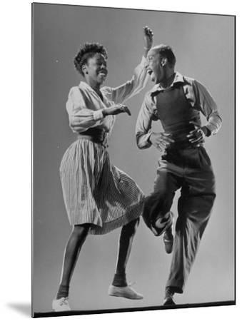 Leon James and Willa Mae Ricker Demonstrating a Step of the Lindy Hop-Gjon Mili-Mounted Premium Photographic Print