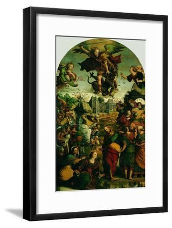 Raising of Lazarus and Fight Between St Michael and the Devil--Framed Giclee Print