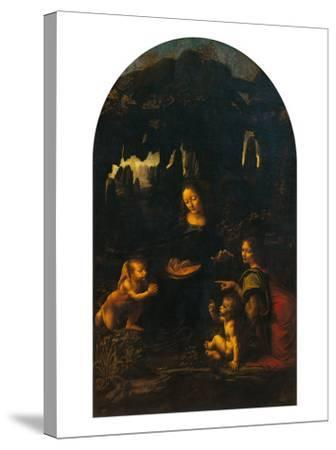 The Virgin of the Rocks (The Virgin and Child, Young St John and an Angel)--Stretched Canvas Print