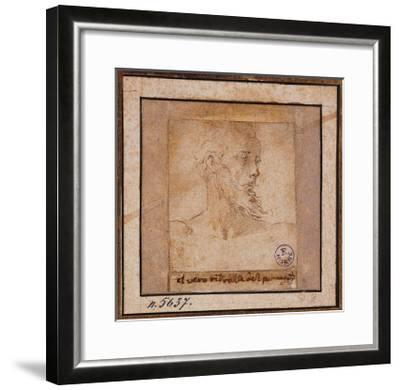 Study Sketch for a Bearded Male Head-Pieter Bruegel the Elder-Framed Giclee Print