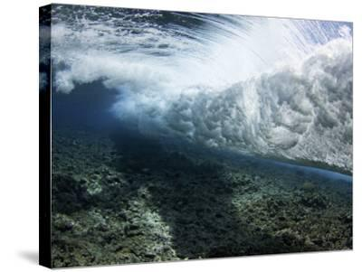 Underwater View of a Wave Crashing over a Coral Reef, Yap, Micronesia-David Fleetham-Stretched Canvas Print