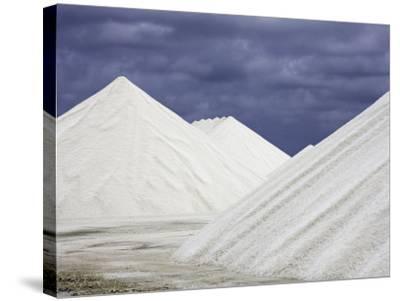 Mountains of Salt at the Salt Flats of Pekelmeer, Bonaire, Caribbean-David Fleetham-Stretched Canvas Print