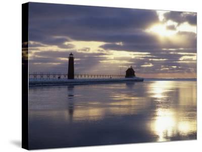 Grand Haven Lighthouse on Lake Michigan at Sunset, Grand Haven, Michigan, USA-Adam Jones-Stretched Canvas Print