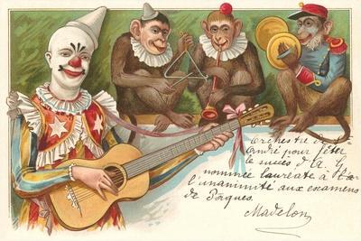 Clown Playing Guitar with Monkey Band--Stretched Canvas Print