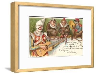 Clown Playing Guitar with Monkey Band--Framed Art Print