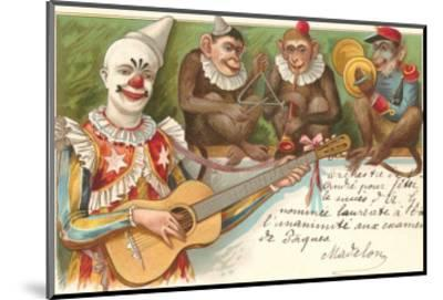 Clown Playing Guitar with Monkey Band--Mounted Art Print