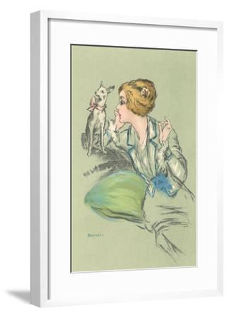 Drawing of Lady with Whippet--Framed Art Print