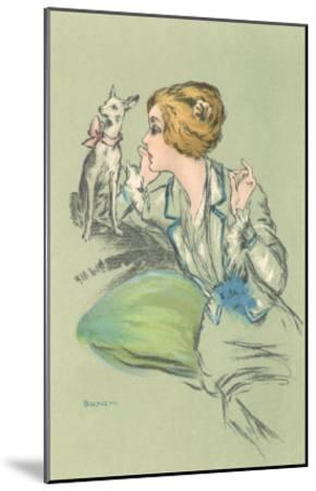 Drawing of Lady with Whippet--Mounted Art Print