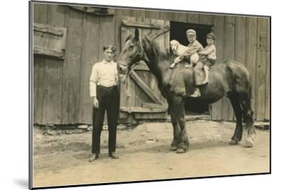 Children on Back of Draft Horse--Mounted Art Print
