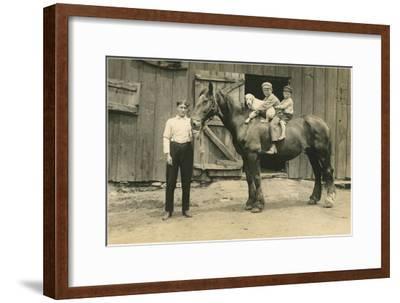 Children on Back of Draft Horse--Framed Art Print