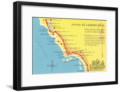photograph relating to California Missions Map Printable known as Map of the Camino True, California Missions Artwork Print as a result of