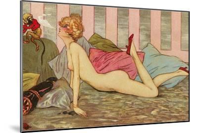 Nude Blowing Smoke at Monkey--Mounted Art Print