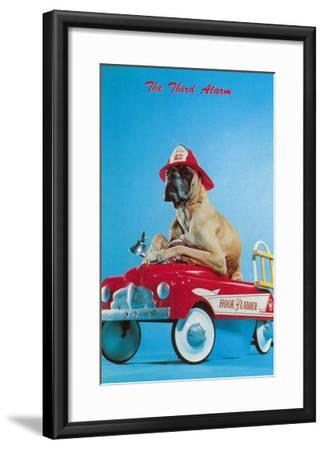 Great Dane in Toy Fire Wagon, Third Alarm--Framed Art Print