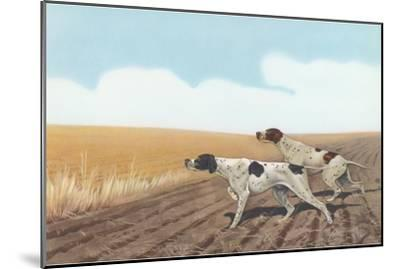 Pointers in Field--Mounted Art Print