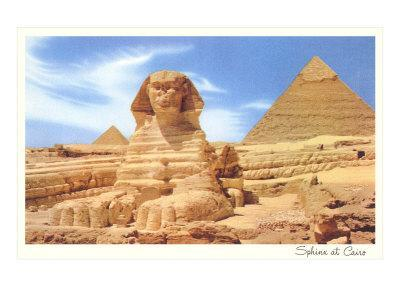 Sphinx and Pyramid, Egypt--Stretched Canvas Print
