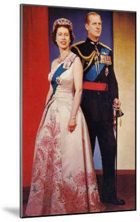 Queen Elizabeth and Prince Phillip--Mounted Art Print