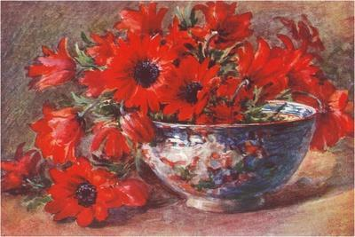 Red Flowers in Bowl--Stretched Canvas Print